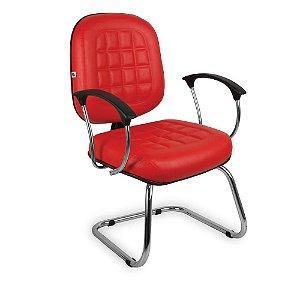 Cadeira Diretor Pé Contínuo Braços Couríssimo Verm Turquesa