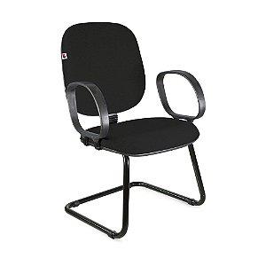 Cadeira Diretor Pé Contínuo Braços Tecido Preto