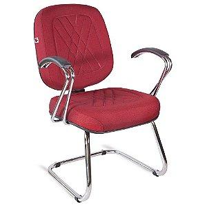 Cadeira Diretor Pé Contínuo Braços Tecido Vermelho Telúrio