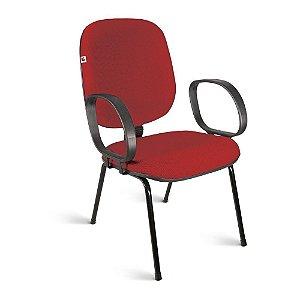 Cadeira Diretor Pé Palito Braços Tecido Vermelho