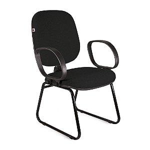 Cadeira Diretor Pé Sky Braços Tecido Preto