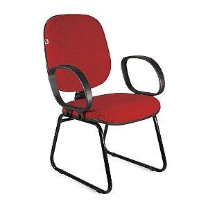 Cadeira Diretor Pé Sky Braços Tecido Vermelho