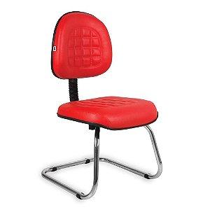 Cadeira Executiva Pé Contínuo Couríssimo Vermelho Turquesa