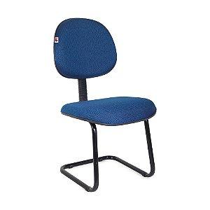 Cadeira Executiva Pé Contínuo Tecido Azul com Preto