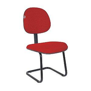 Cadeira Executiva Pé Contínuo Tecido Vermelho