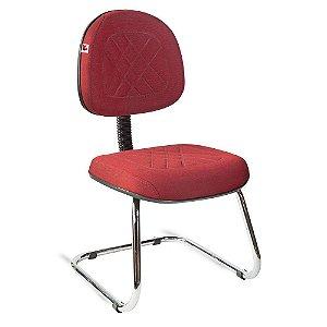 Cadeira Executiva Pé Contínuo Tecido Vermelho Telúrio