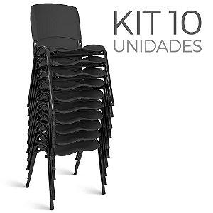 Cadeira Plástica Fixa Kit 10 A/E Preto Lara