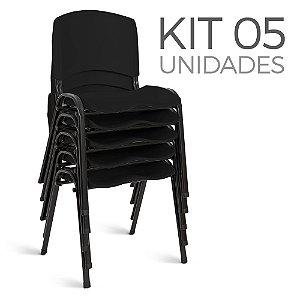 Cadeira Plástica Fixa kit 5 A/E Preto Lara