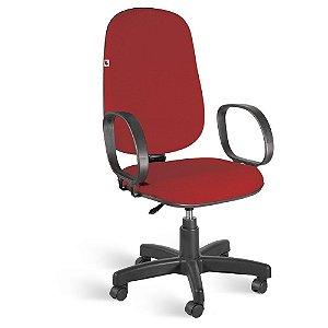 Cadeira Presidente Giratória Braços Tecido Vermelho