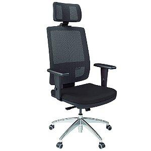 Cadeira Presidente Relax Braços Courís Preto Saturno
