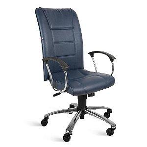 Cadeira Presidente Relax Braços Couríssimo Azul Safira