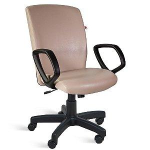 Cadeira Presidente Relax Braços Couríssimo Bege Jaspe