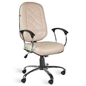 Cadeira Presidente Relax Braços Couríssimo Bege Turmalina
