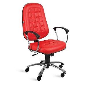 Cadeira Presidente Relax Braços Couríssimo Vermelho Turquesa