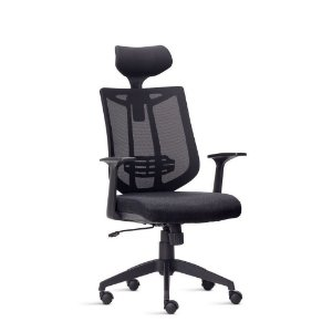 Cadeira Presidente Relax Braços Tecido Preto Júpter