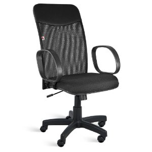 Cadeira Presidente Relax Braços Tecido Preto Mercúrio