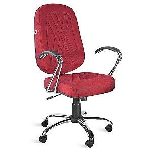 Cadeira Presidente Relax Braços Tecido Vermelho Telúrio