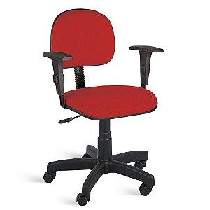 Cadeira Secretária Giratória Braços Tecido Vermelho
