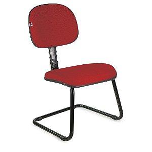 Cadeira Secretária Pé Contínuo Tecido Vermelho