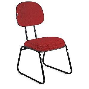 Cadeira Secretária Pé Sky Tecido Vermelho