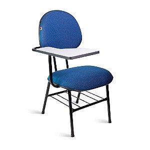 Cadeira Universitária Executiva Tecido Azul Com Preto