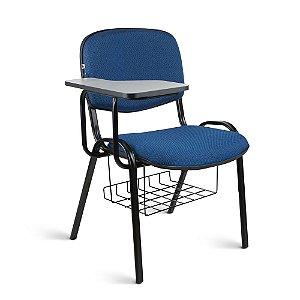 Cadeira Universitária Executiva Tecido Azul Com Preto Quartz