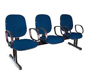 Longarina Diretor 3 Lugares Braços Tecido Azul Com Preto