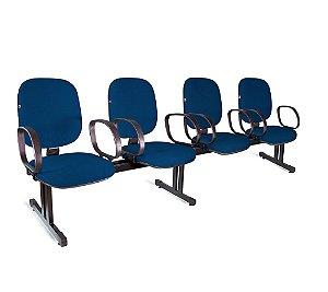 Longarina Diretor 4 Lugares Braços Tecido Azul Com Preto