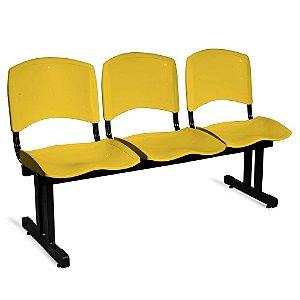 Longarina Plástica 3 Lugares A/E Amarelo Lara