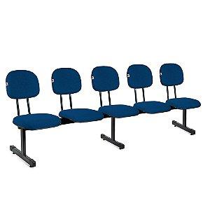 Longarina Secretária 5 Lugares Tecido Azul Com Preto