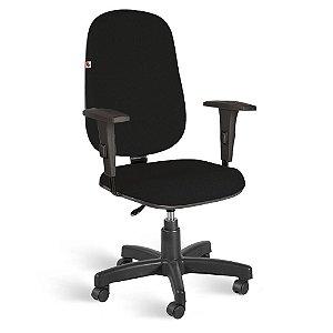 Cadeira Presidente Giratória Braços Reguláveis Tecido Preto