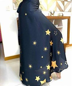 Saia Pareô Estampado Estrelas Preto