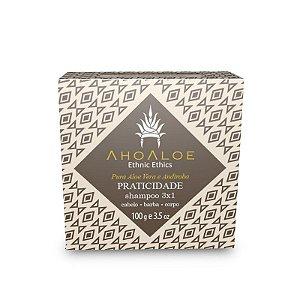 Shampoo Sólido 3x1 - Todos os Tipos de Cabelo, Barba e Corpo - AhoAloe - 100g
