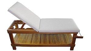 Maca para Massagem Beauty Multiforma, com suporte para o rosto e papeleira em madeira Teca.