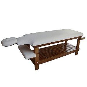 Maca para Massagem Oriental Multiforma, com suporte para o rosto, braços e papeleira em madeira Peroba Demolição.
