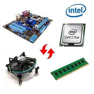 Kit Placa Mãe 775 + Processador Core 2 Duo e8400 + Memória 4gb + Cooler