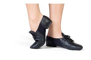 Sapato de Amarrar em Couro com Recorte em Neoprene Capezio
