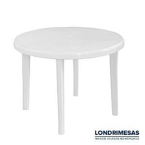 Mesa Plástica Redonda Desmontável Branca