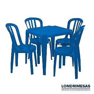 Jogo 01 Mesa e 04 Cadeiras Bistro Colorida 140kg