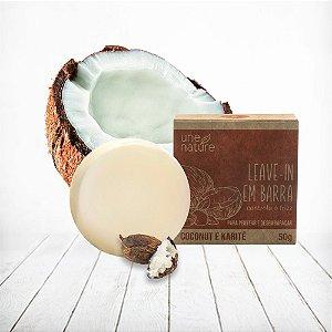 Leave-in em barra Coconut e Karité Une Nature Arte dos Aromas 50g