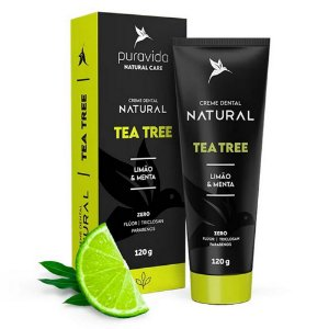 Creme Dental Natural Tea Tree- Limão e Menta - 120g - Puravida