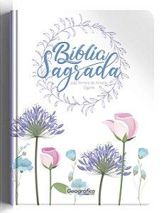Bíblia ARC gigante semi luxo - Floral branca