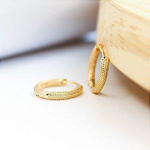 Argola Pontilhada G 15mm Banho Ouro
