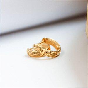 Argola Pontilhada 10mm P Banho Ouro