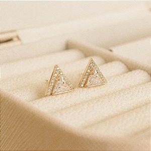 Brinco Triângulo Cravejado Banho ouro