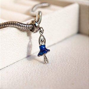 Berloque Bailarina Azul Aço