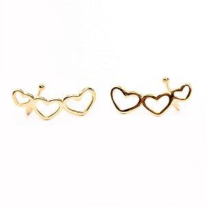 Ear Cuff Três Corações Banho Ouro