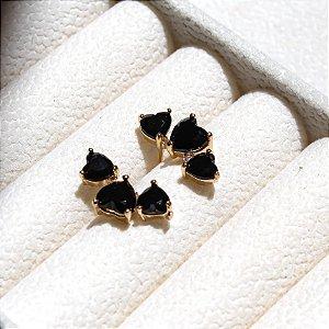 Ear Cuff Corações Banho Ouro