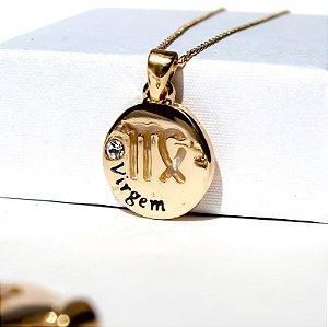 Pingente Medalha Virgem Banho Ouro