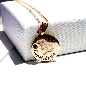 Pingente Medalha Capricórnio Banho Ouro